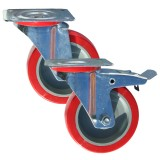 Medium Duty RS Series Poly Tyre/Nylon Centre Castors 100kg - 350kg