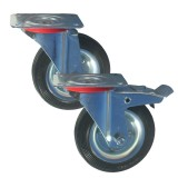 Medium Duty RS Series Rubber Tyre Metal Centre Castors 70kg - 205kg