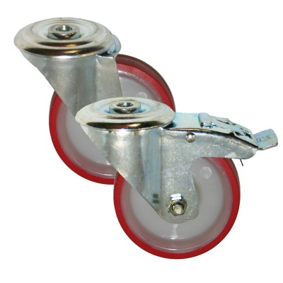 Medium Duty RS Series Poly/Nylon Bolt Hole Castors 150Kg