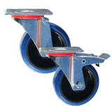 Medium Duty RS Series Blue Elastic Rubber  Castors 150kg - 350kg